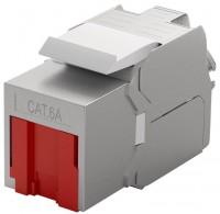 Keystone RJ45 Buchse - LSA werkzeugfrei CAT 6a STP mit Staubschutz rot