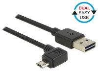 EASY USB 2.0 Kabel A Stecker – micro B Stecker links/rechts gewinkelt schwarz
