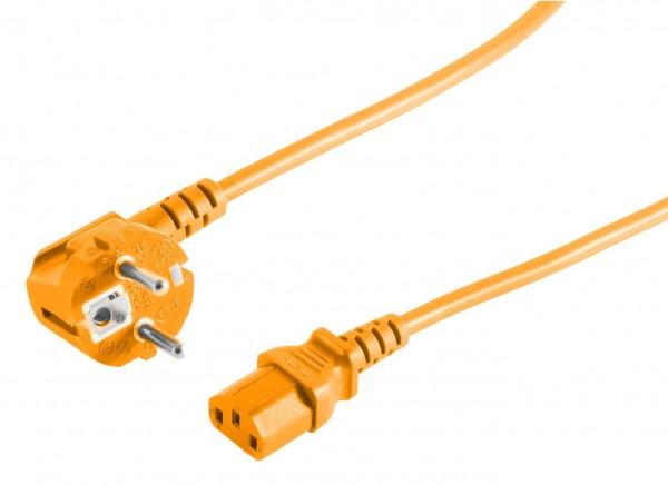 Kaltgeräte Netzkabel Schutzkontakt-Stecker abgewinkelt – IEC320-C13 Buchse orange