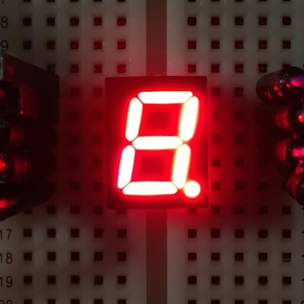 7-Segment-Anzeige, 10mm, gemeinsame Kathode, 40mcd, rot