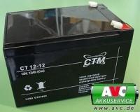 CTM CT12-12L wartungsfreier AGM-Bleiakku 12V / 12Ah Fast-on 6,3mm VDS