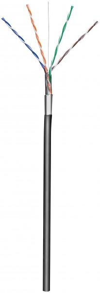 CAT 5e Outdoor Netzwerkkabel, F/UTP, Schwarz, 100 m - CCA Kupfergemisch, AWG 24/1 (solid), PE