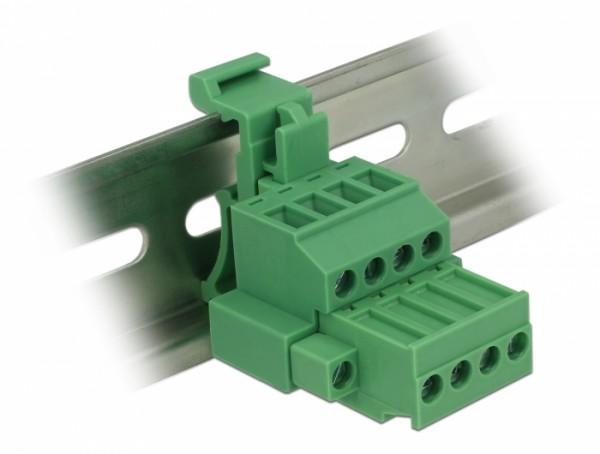 Terminalblock Set für Hutschienen 4 Pin mit Schraubverriegelung