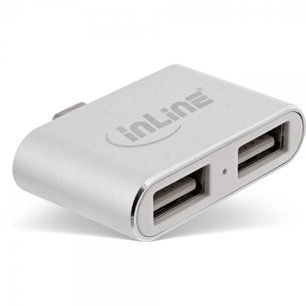 2-fach USB-C Mini Hub mit 2 USB 2.0 A Buchsen, silber