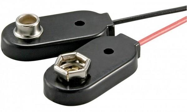 Batterieclip für 9V Blöcke, Einzelclips, Plastikgehäuse