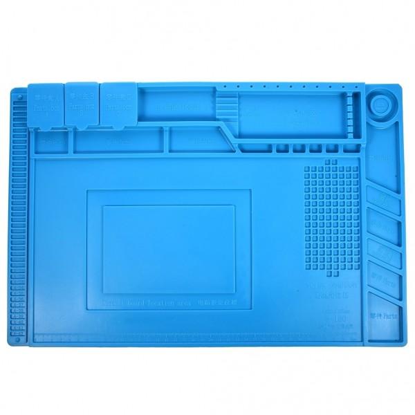 Silikon Lötmatte, 450x300mm, mit Werkzeughalterung, 4 Magnetzonen und 3 Klappfächern