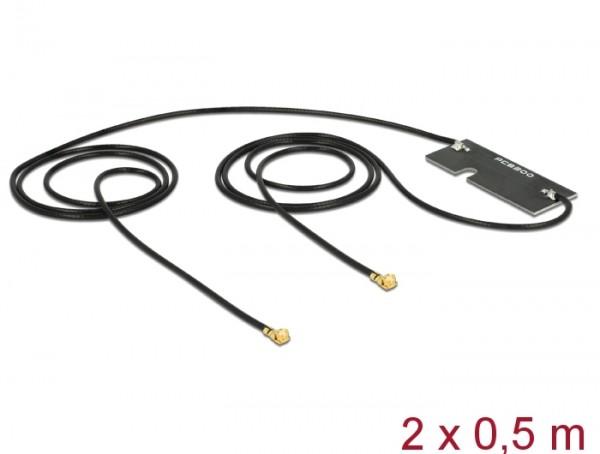 WLAN Doppelantenne MHF/U.FL-LP-068 kompatibler Stecker 802.11 ac/a/h/b/g/n 3 - 5 dBi 2x 500 mm PCB intern Klebemontage