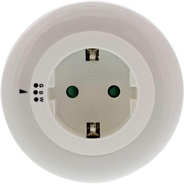 LED-Nachtlicht dreifarbig leuchtend (weiß, blau, grün) mit Dämmerungsautomatik und Steckdose