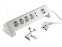 Tisch-Steckdosenleiste 4-fach mit USB Ladefunktion (2x 1A) weiß
