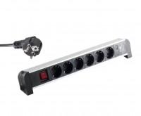 Tisch-Steckdosenleiste 6-fach mit USB Ladefunktion (2x 1A) schwarz