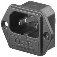 AC-Einbaustecker C14 mit Sicherungshalter - 4,8mm Flachsteckeranschluss