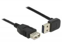 EASY USB 2.0 Kabel A Stecker 90° oben/unten gewinkelt – A Buchse schwarz