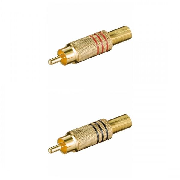 Cinchstecker, Metallausführung mit Knickschutz für Kabel ø7,0mm, Lötmontage