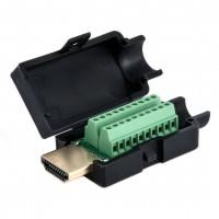 HDMI A-Stecker, 19 polig, zur Kabelmontage, Schraubmontage