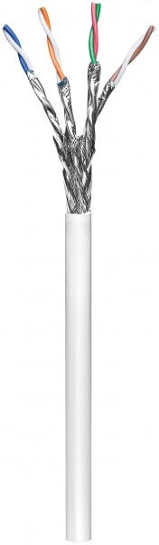 CAT 6 Netzwerkkabel, S/FTP (PiMF), Weiß, 100 m - CCA Kupfergemisch, AWG 27/7 (stranded), LSZH