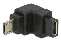 Micro USB 2.0 Winkeladapter Micro B Stecker - Micro B Buchse unten gewinkelt schwarz
