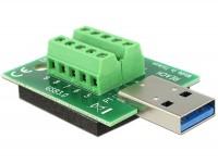 Adapter Terminalblock - USB 3.0 A Stecker mit Pad