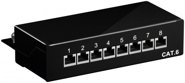 CAT 6 Mini Desktop Patchpanel, 8 Port, STP geschirmt, schwarz
