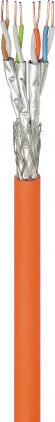 CAT 7A Netzwerkkabel, S/FTP (PiMF), Orange, 500 m - CU, AWG 23/1 (solid), LSZH