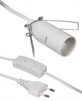 Euro-Netzkabel mit Schnurschalter und E14 Fassung, 3,5m, weiß