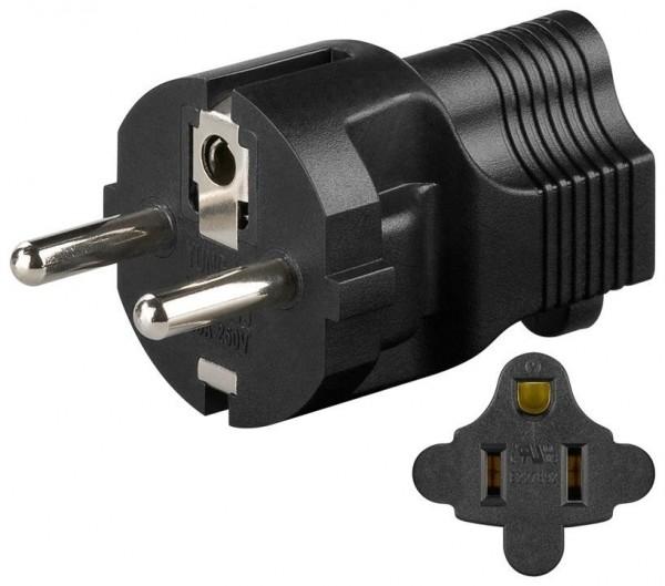 Netzadapter, Schwarz - US/Japan-Buchse (Typ B, NEMA 5-15, 3-polig) > Schutzkontaktstecker (Typ F, CEE 7/4)