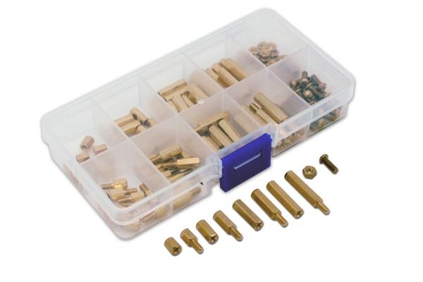 120-teiliges Messing Abstandshalter Sortiment in Kunststoffbox, Größe: M2,5