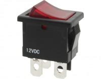 Wippschalter, 1-polig, schwarz, rot beleuchtet (12 V), ON-OFF