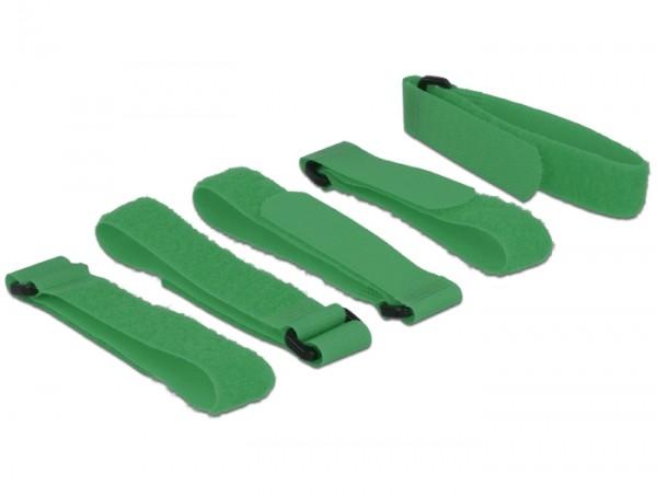Kabelbinder, Klettverschluss L 300 mm x B 20 mm 5 Stück mit Schlaufe grün