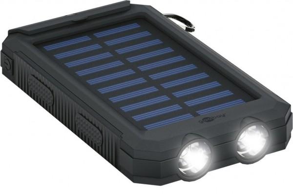 Outdoor Powerbank mit robustem Design, Solarpanel und Taschenlampenfunktion, 8.000mAh, schwarz