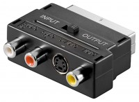 Scart-Adapter mit IN/OUT Umschalter, S-Video