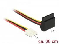 Power Kabel, 4 Pin Floppy Buchse - 1x SATA 15 Pin Buchse gewinkelt, Metallclip, 30cm