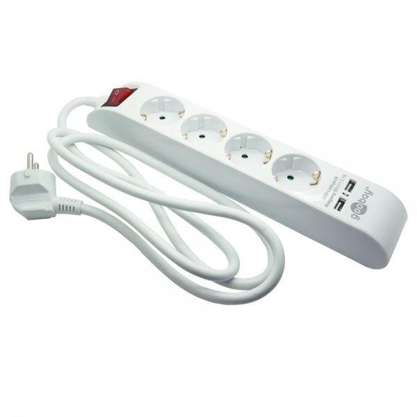 4-fach Steckdosenleiste mit Schalter und 2 USB Ports (je 2,1A), weiß, 1,4m