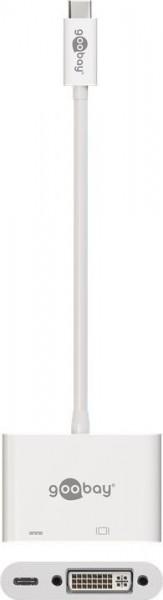 USB-C Multiport Adapter mit DVI, USB-C - Farbe: weiß