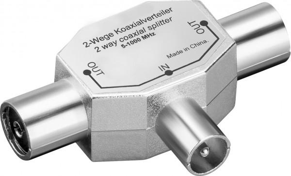 Antennenverteiler / T-Adapter, 2x Koax-Buchse - Koax-Stecker, Metallausführung