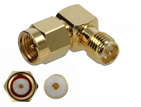 Adapter SMA Stecker zu RP-SMA Buchse 90° 10 GHz