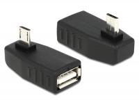 Adapter USB micro-B Stecker - USB 2.0-A Buchse OTG 90° gewinkelt