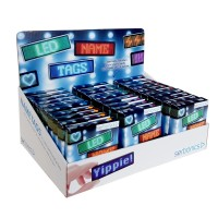 LED Name Tag, 11x44 Pixel, USB, Thekendisplay mit 30 Stück, farblich sortiert