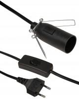 Euro-Netzkabel mit Schnurschalter und E14 Fassung, 3,5m, schwarz