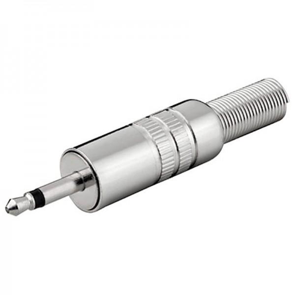 Klinkenstecker, 3,5mm, Mono / 2 polig, Metallausführung mit Knickschutz, Lötmontage