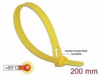 Kabelbinder wiederverwendbar hitzebeständig L 200 x B 7,5 mm 100 Stück gelb