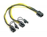 Kabel PCI Express Stromversorgung 6 Pin Buchse - 2 x 8 Pin Stecker 30cm