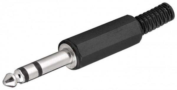 Klinkenstecker, 6,35mm, Stereo / 3 Polig, Plastikausführung mit Knickschutz, Lötanschluss