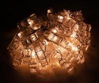 LED-Lichterkette mit 50 Clips, warmweiß, transparent, Batteriebetrieben