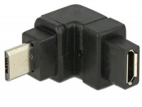Micro USB 2.0 Winkeladapter Micro B Stecker - Micro B Buchse oben gewinkelt schwarz