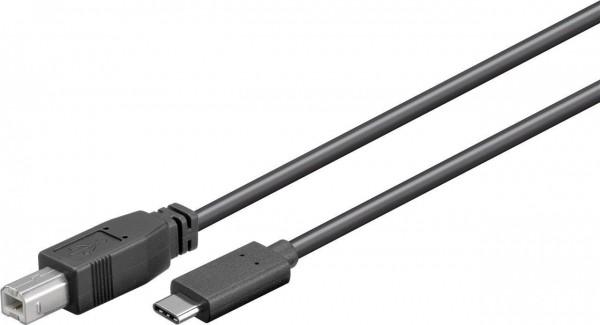 USB-C 2.0 Kabel, C Stecker – B Stecker, schwarz - Länge: 1,0m
