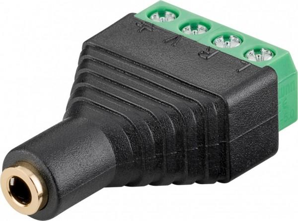 Terminalblock 4-pin > Klinke 3,5 mm Buchse (4-Pin, stereo) - Schraubbefestigung
