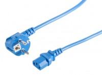 Kaltgeräte Netzkabel Schutzkontakt-Stecker abgewinkelt – IEC320-C13 Buchse blau
