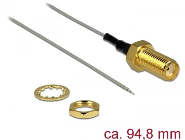 Antennenkabel SMA Buchse zum Einbau - offenes verzinntes Kabelende 1,37, 94,8mm, Gewindelänge 10mm